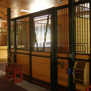 Custom Stable Stalls with Metal and wood by Old Town Barns