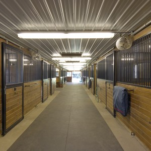 Custom Stable Interior with Corrugated White Steel Ceiling