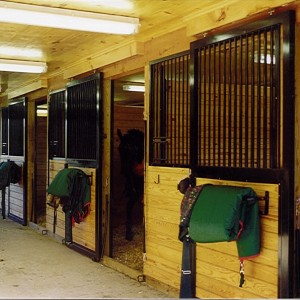 Standard Stall From 12ft wide with Track Valance in a Custom Barn by Old Town Barns