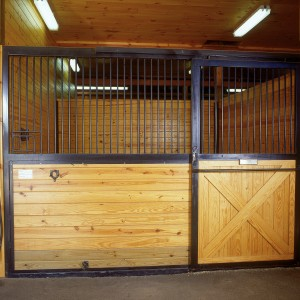 Custom stable with panelized stall front