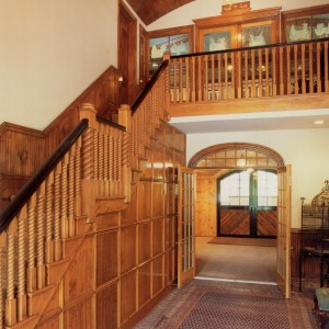 Custom Stable Interior with Wood Paneled Foyer