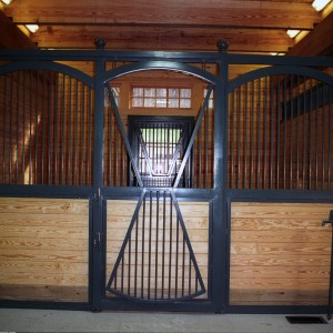 14x14 black metal stall front in a custom stable interior