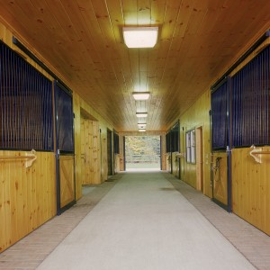 Custom Stable concrete aisle and brick border with 10ft ceilings and custom stall front grill work