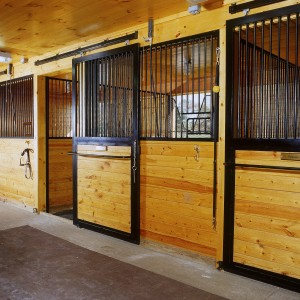 12x12 Standard Stall Front in a Custom Stable by Old Town Barns