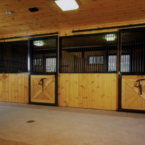 12x12 stalls with 10ft ceiling hight and an aisle with a 2ft wide brick border - Custom Stables by Old Town Barns