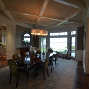 High-End Living Quarters, Custom Dining Room with Tray Ceiling by Old Town Barns