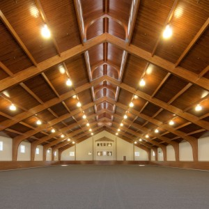 Glue Lam Arch Indoor Ring in a 110x185 Custom Riding Arena