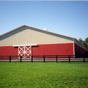 88x184 Steel Indoor Riding Ring with Translucent Fiberglass on Gable Ends for natural light and 8in insulation over roof girts