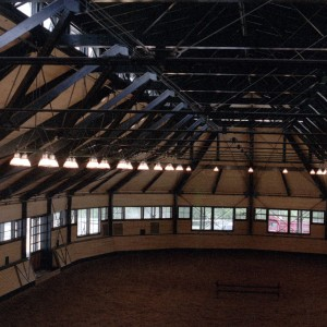 80x240 indoor riding ring with half round end. Photo taken from 2nd floor viewing room