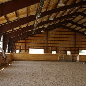 Interior of a Custom Riding Arena built by Old Town Barns