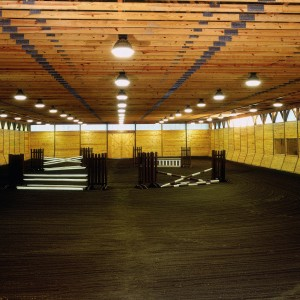 60x120 pole building interior view with 16ft ceiling height