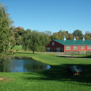 Custom Red Riding Arena Construction near a pond by Old Town Barns