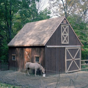 Horse in front of a dark gray stable with white trim