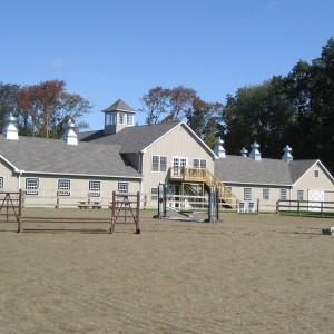 Old Town Barns Custom built light gray stable