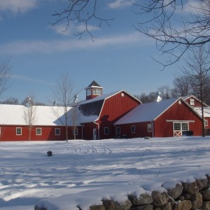 Custom Designed Red Stable in the winter with snow on the ground by Old Town Barns