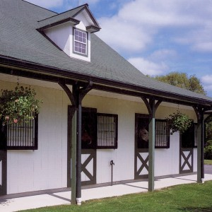 Stable Exterior of a 36 Stall Barn with 2 wash stalls, 4 groom stall and a 4 bedroom apartment
