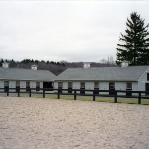 White Stable Exterior of two 8 stall barns
