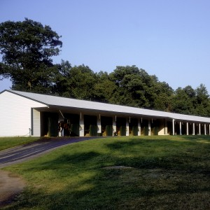White Stable Exterior of a 22 ftx210 ft Polo Barn